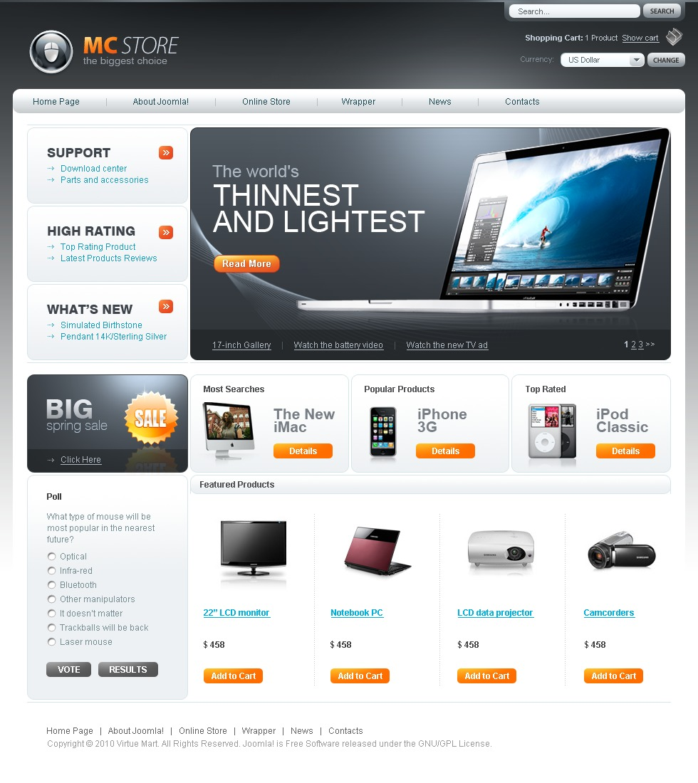Electronics Store VirtueMart Template #29127