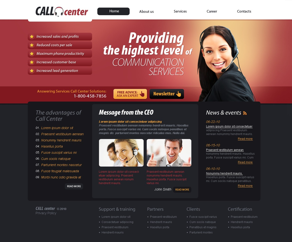 Call Center Website Template #30241