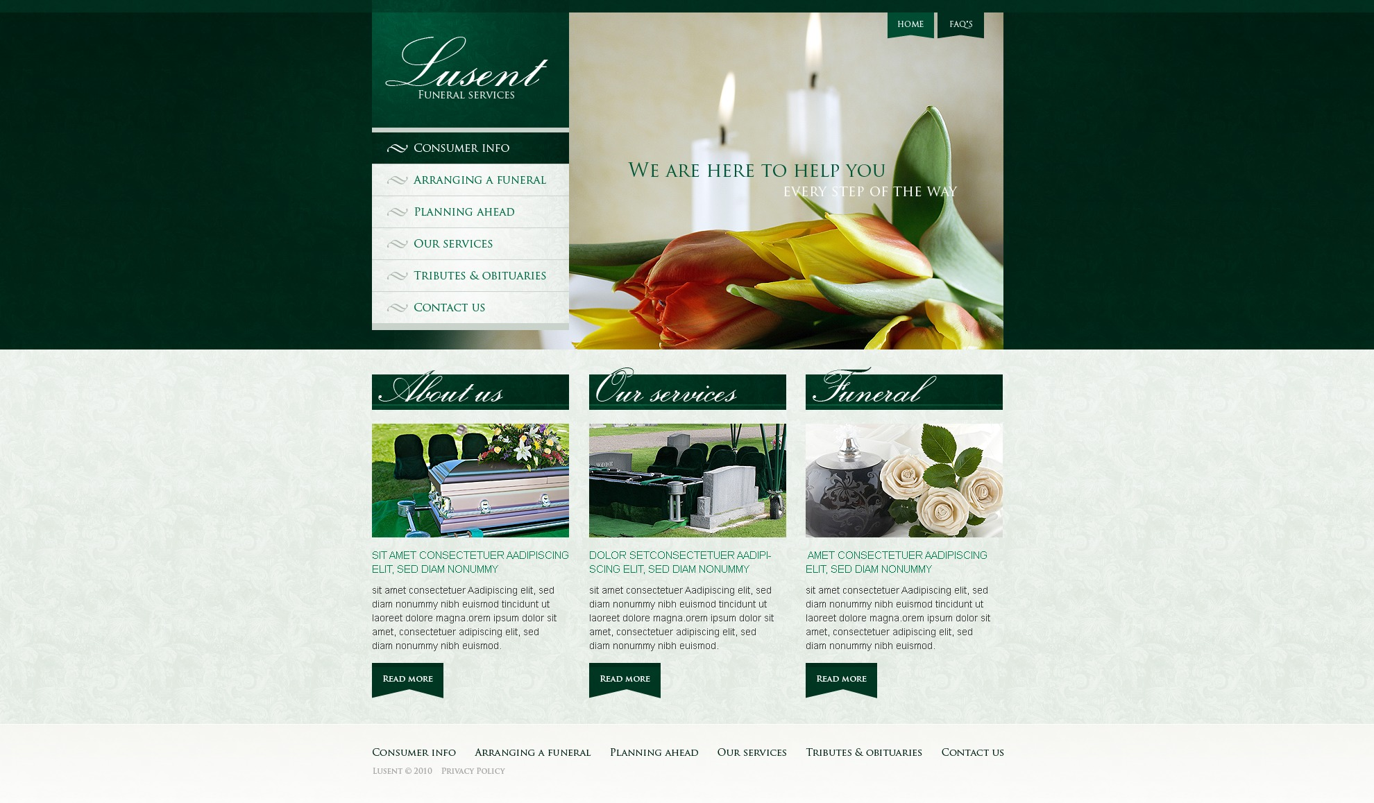 Funeral Services Website Template #30293