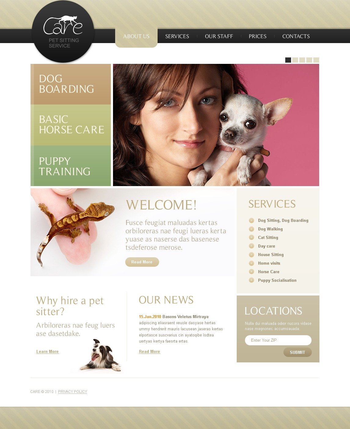 Pet sitting website template 30396 for Dog boarding website