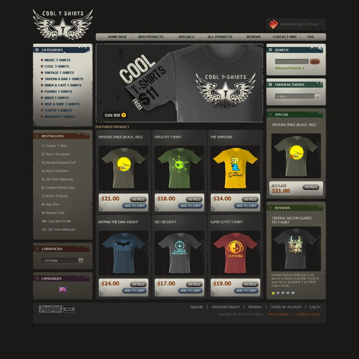 Tshirt Shop ZenCart Template - Custom t shirt website template