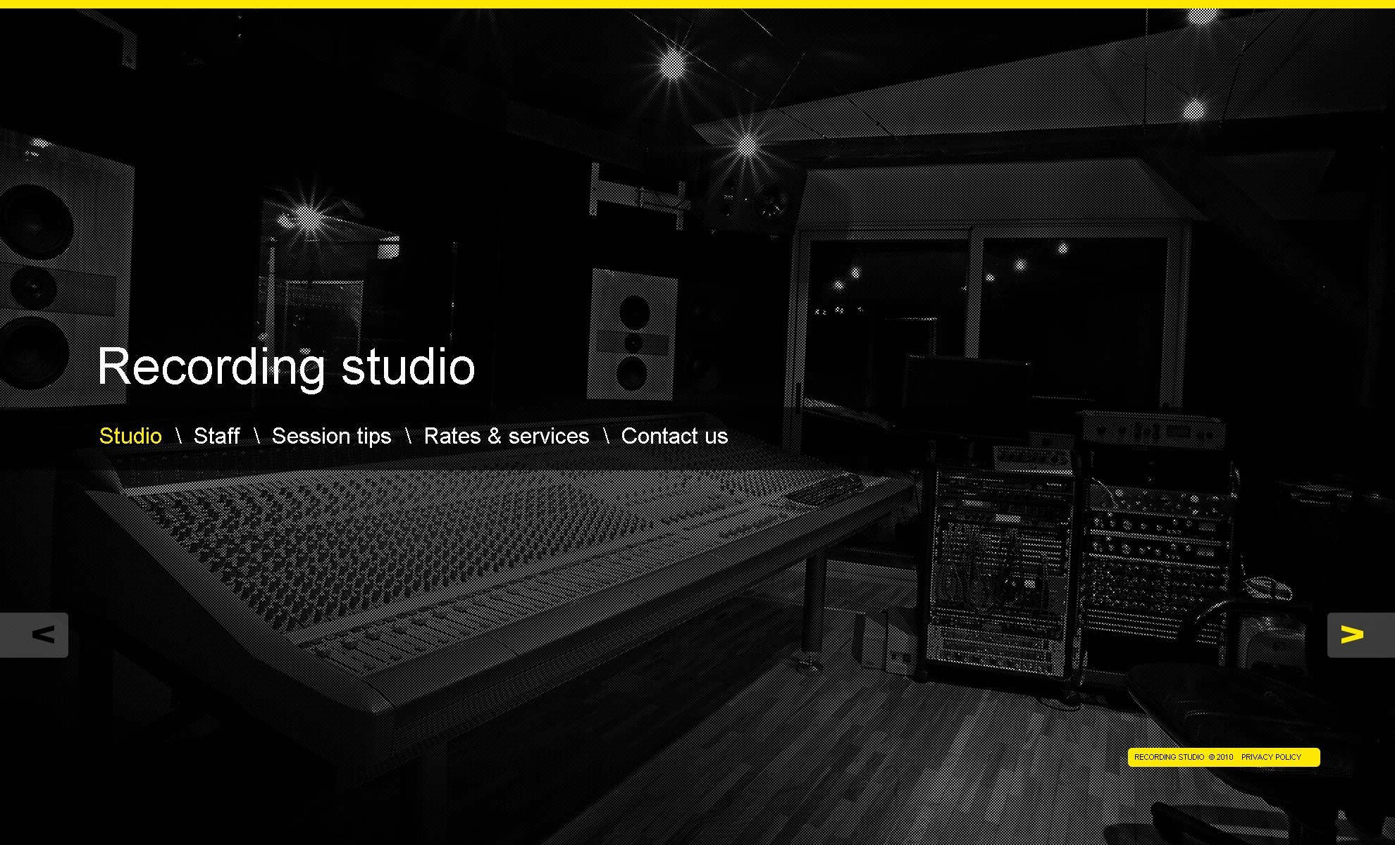 Recording studio website template 30813 for Music studio design software