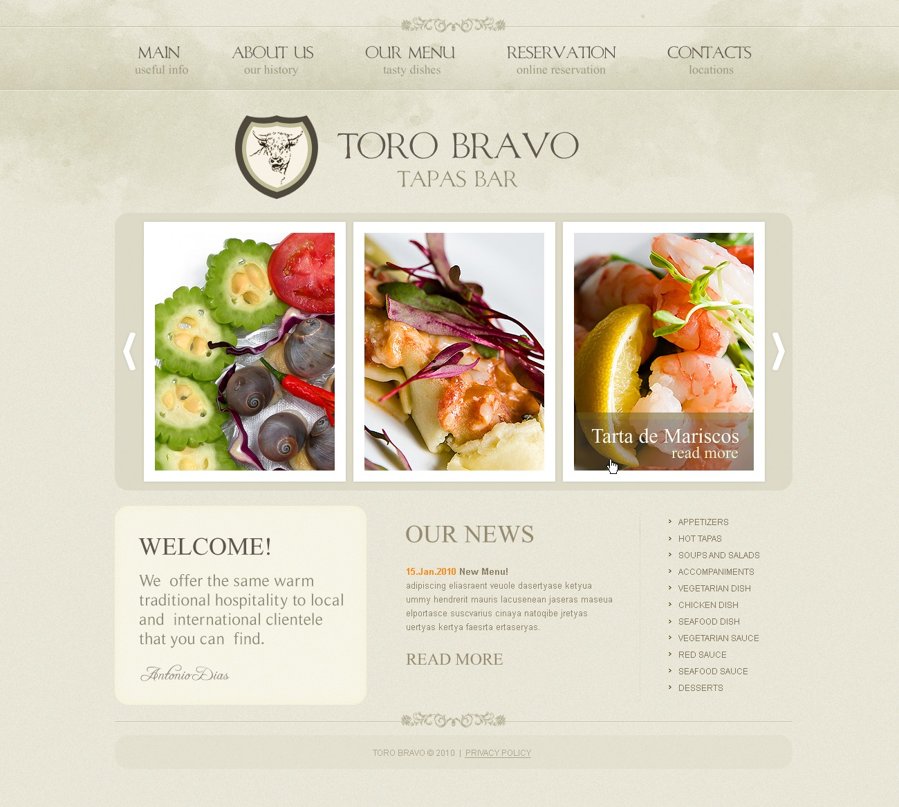 Tapas restaurant website template 31029 by wt website for Tapas menu template