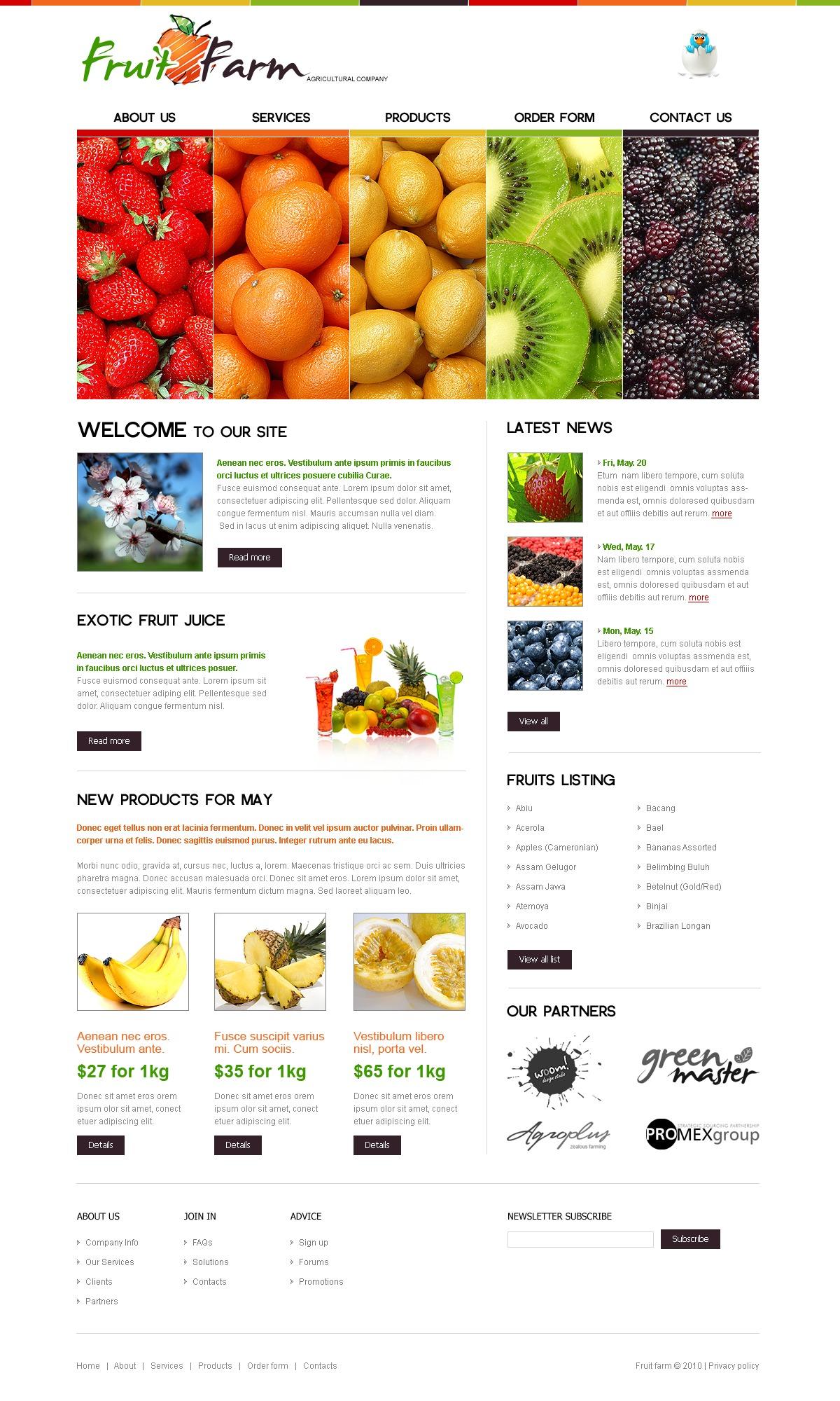 Fruit PSD Template