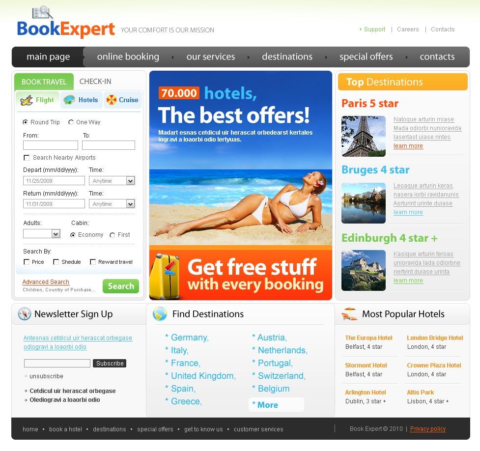 旅行社网站PSD模板 #31168