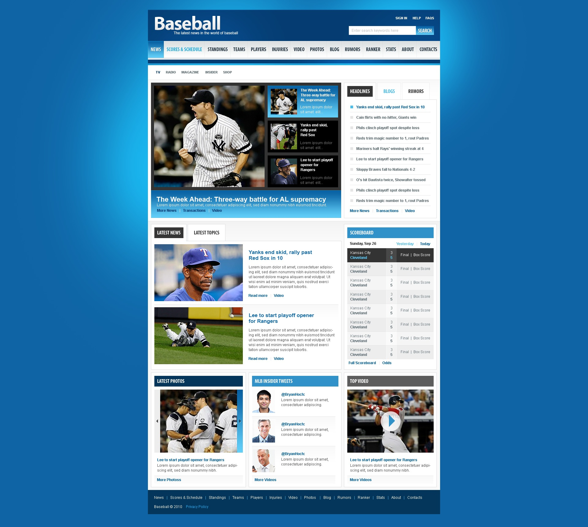 Baseball Website Template #31363