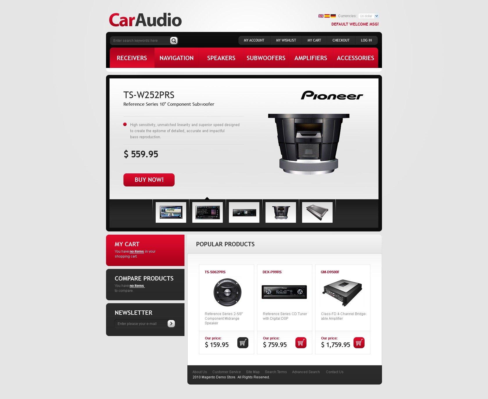 Tema magento 31484 per un sito di impianti audio per auto - Impianti audio per casa ...