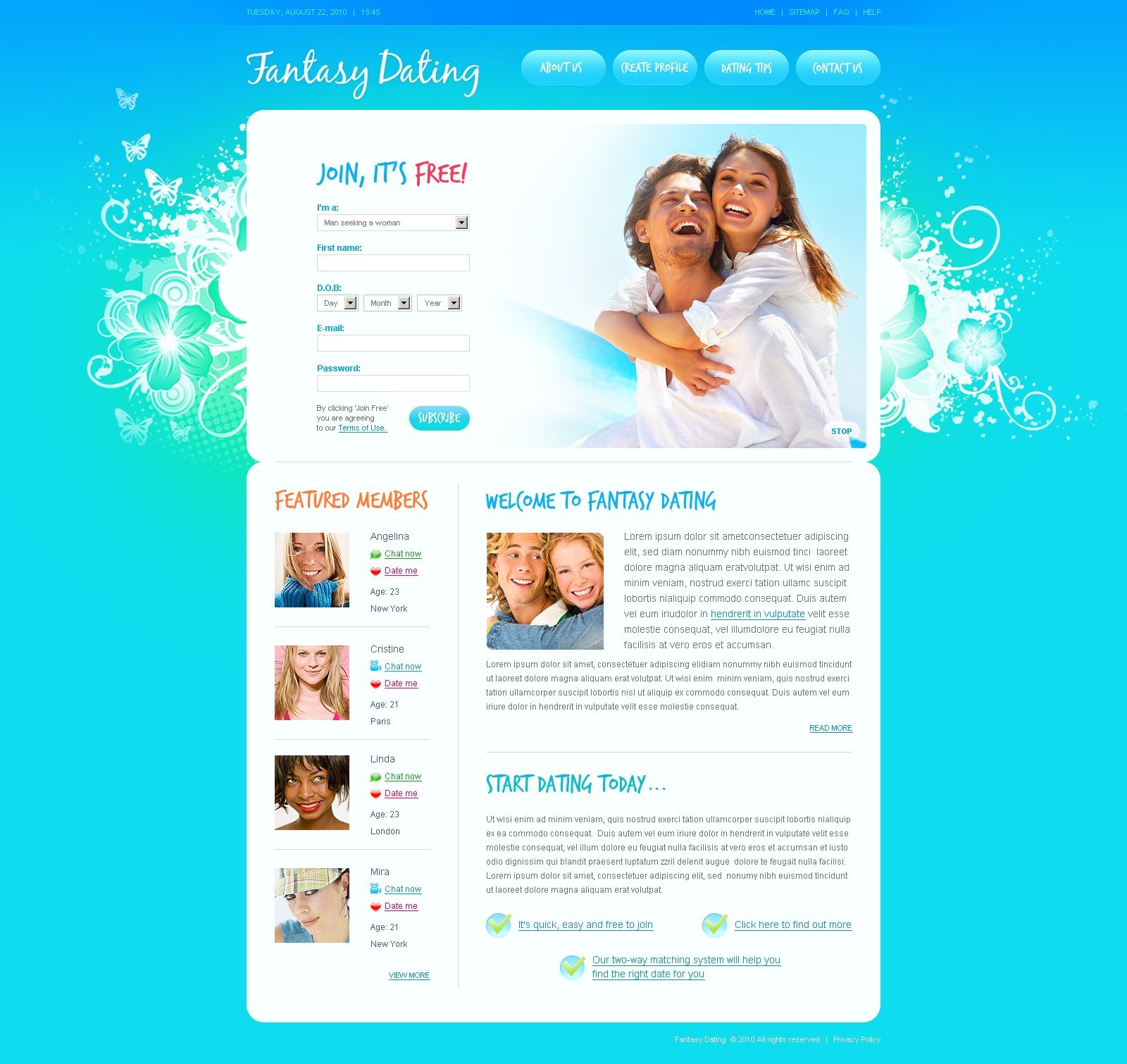 dating site about me template - dating website template 31521