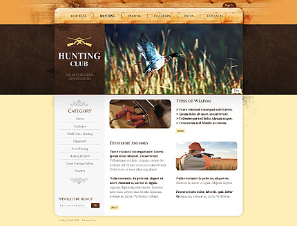 Template 31632 ( Hunting Page ) ADOBE Photoshop Screenshot