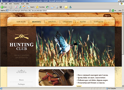 Template 31632 ( Hunting Page ) HTML Screenshot