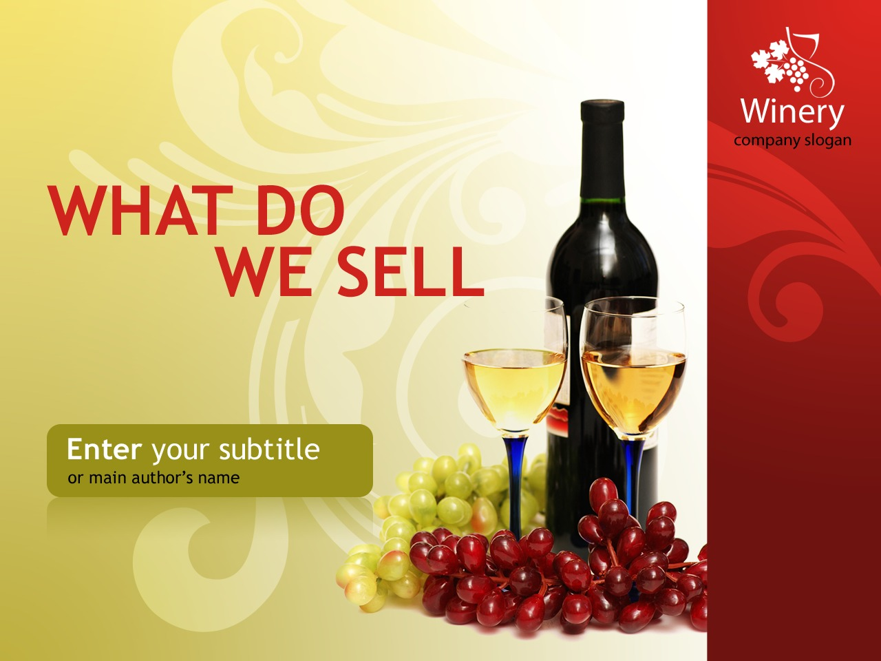 PowerPoint шаблон №31989 на тему виноделие