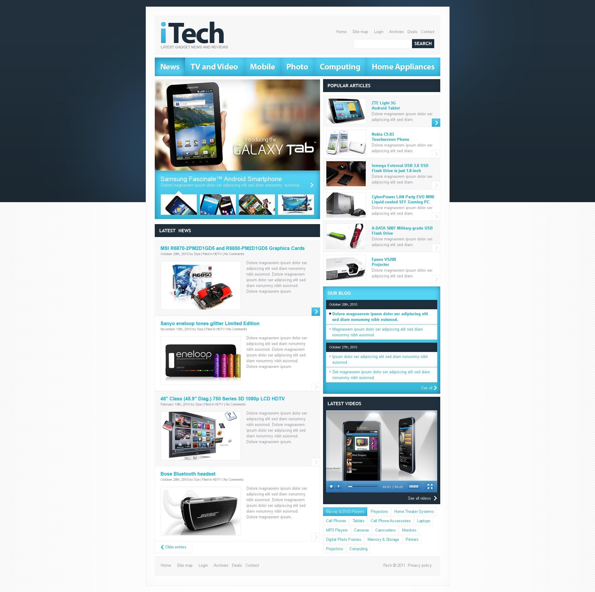 electronics review website template 32353. Black Bedroom Furniture Sets. Home Design Ideas