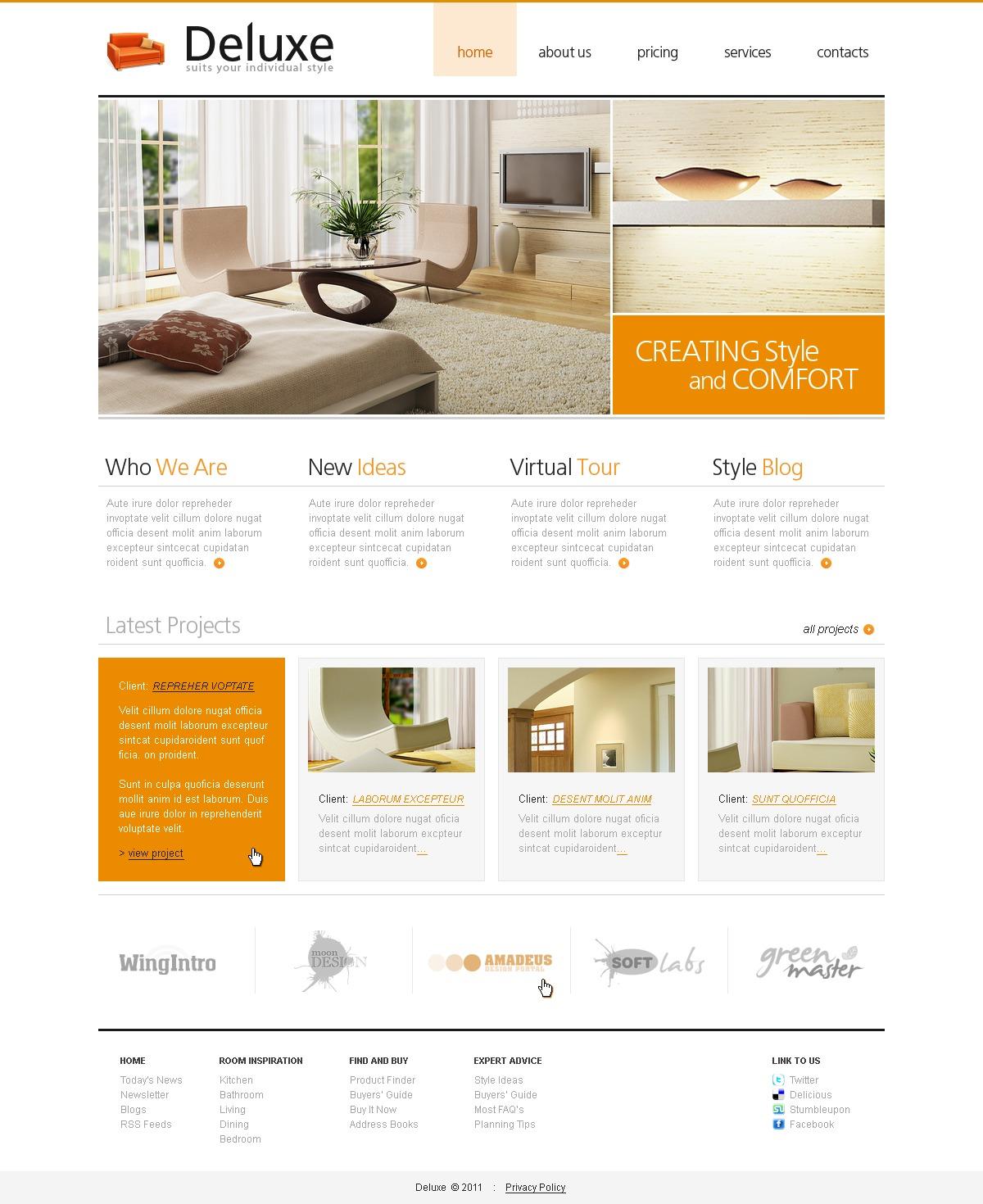 Interior Design Website Template 32612