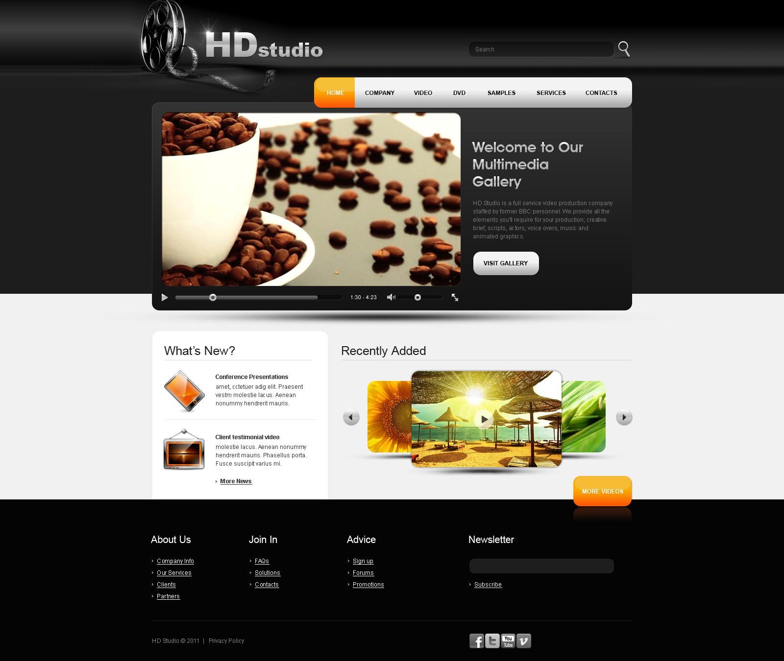 Plantilla Web #32846 para Sitio de Galerías de vídeos