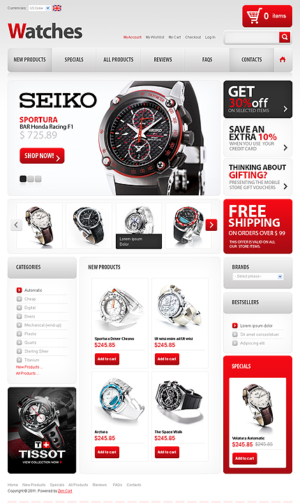 ZenCart Template 32900 Main Page Screenshot