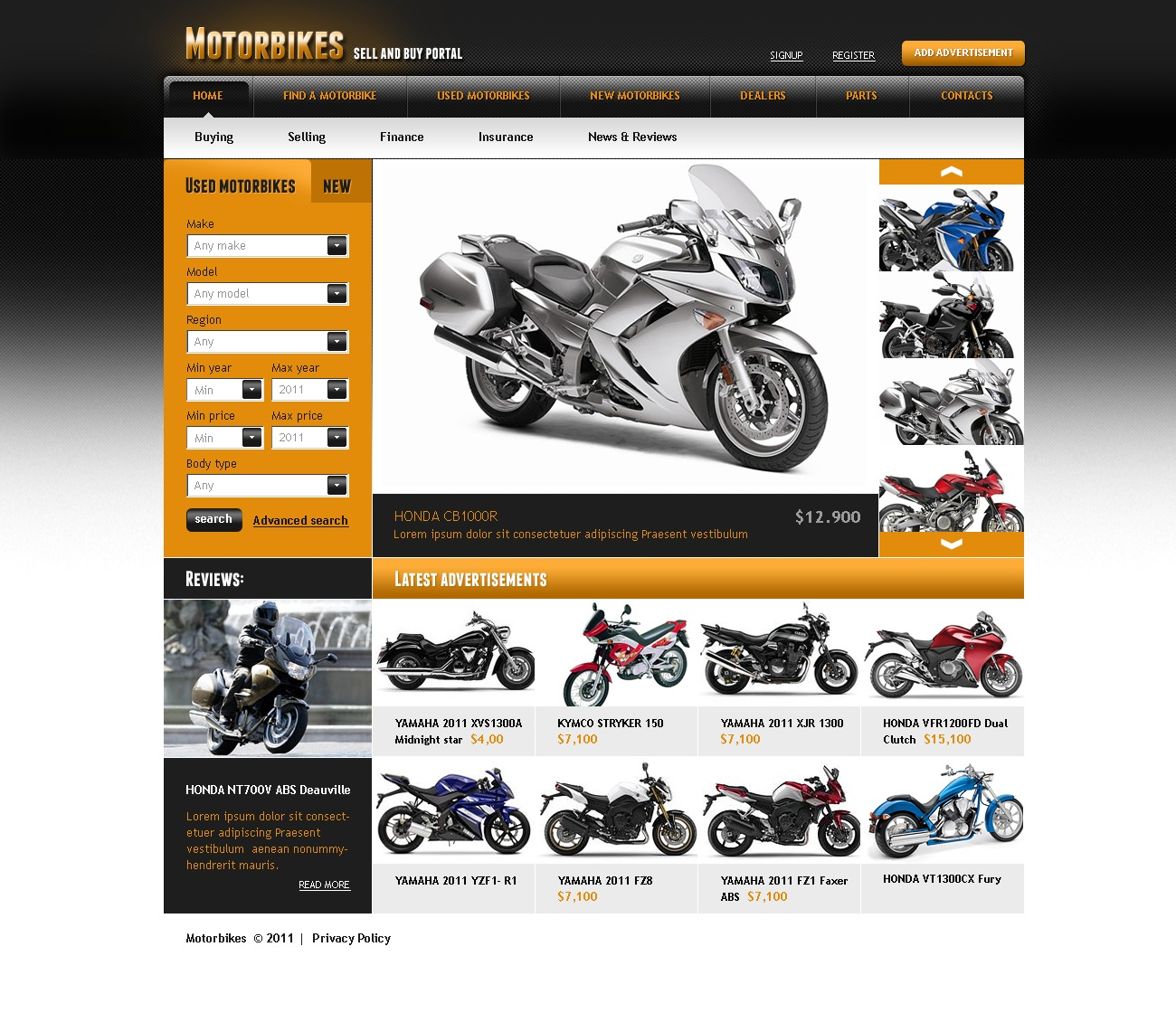 Bike Website Template