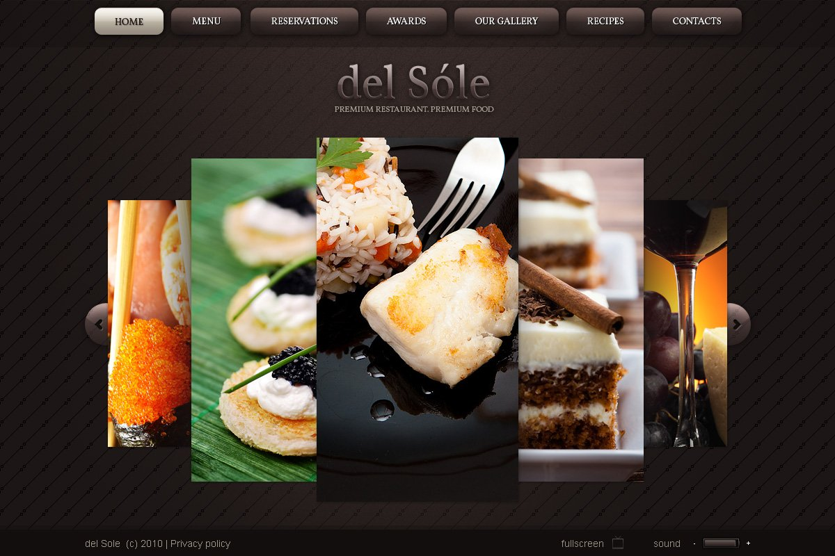 Cafe and Restaurant Flash CMS Template - screenshot