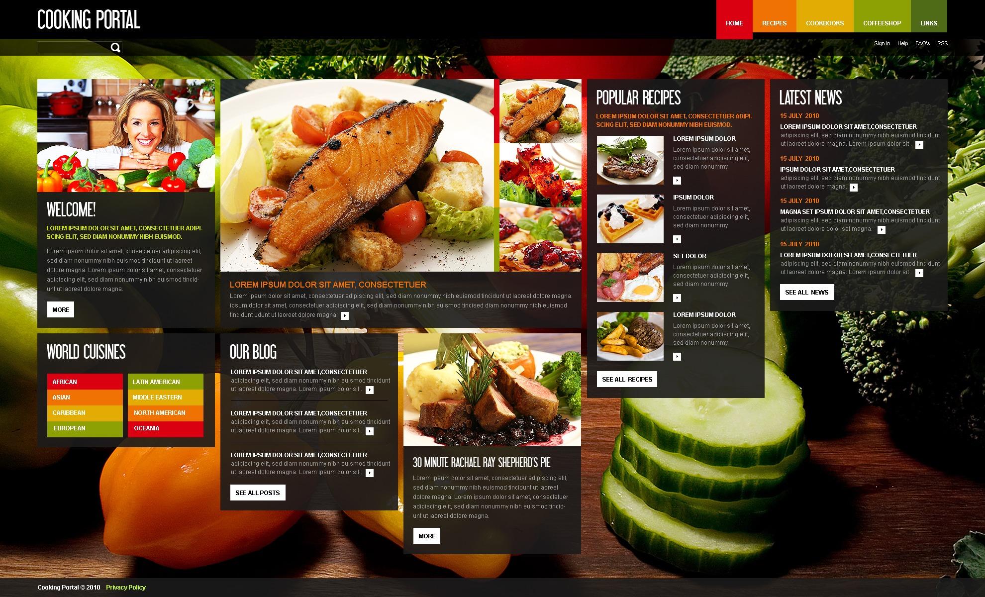Template siti web 33071 per un sito di cucina for Siti di ricette cucina