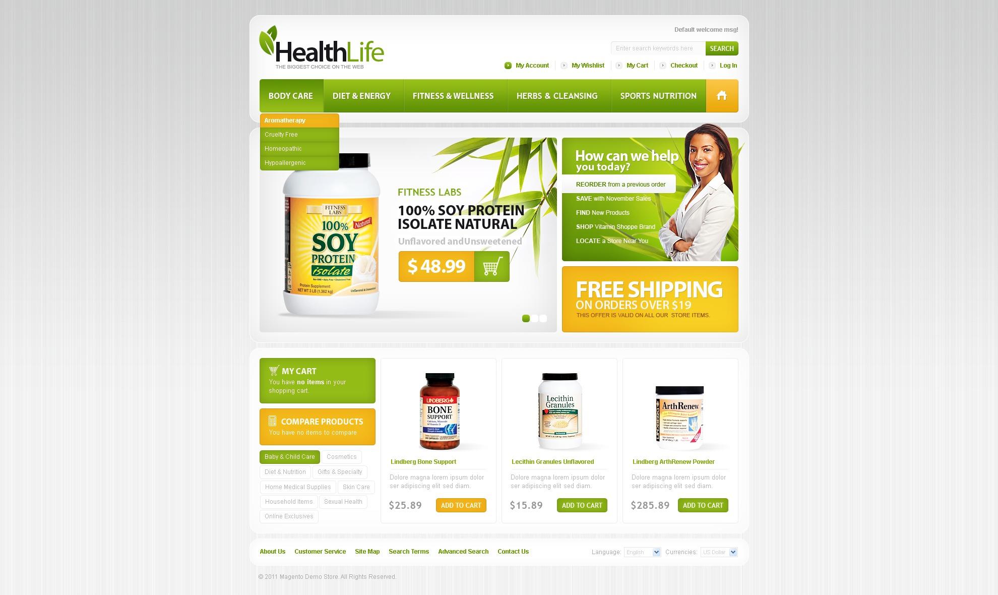 Szablon Magento #33062 na temat: odżywki i suplementy diety - zrzut ekranu