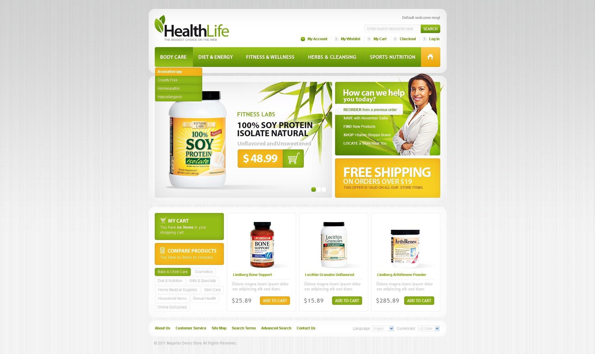 Tema Magento para Sites de Loja de Nutrição №33062 - captura de tela