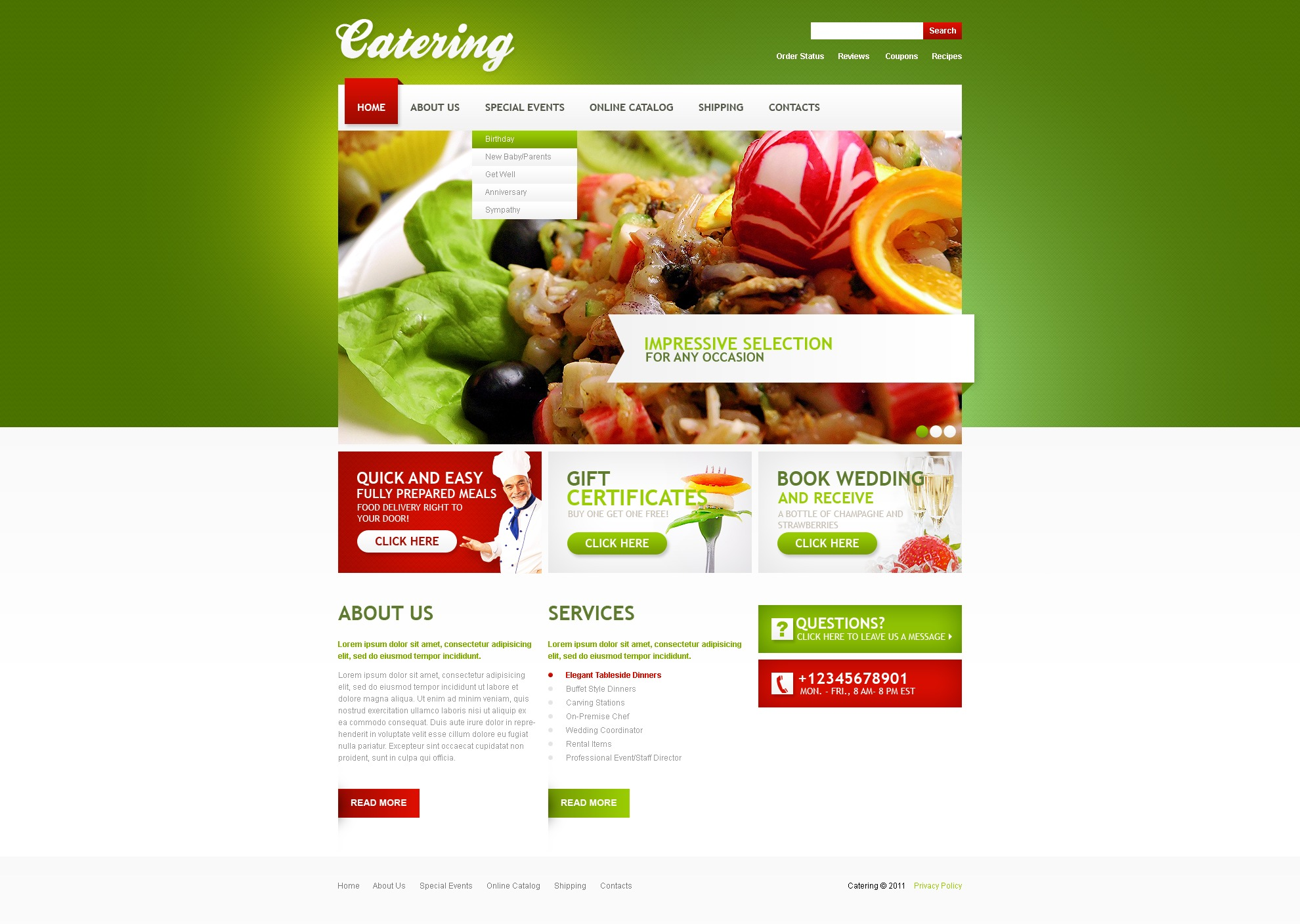 Free Food Catering Website Templates