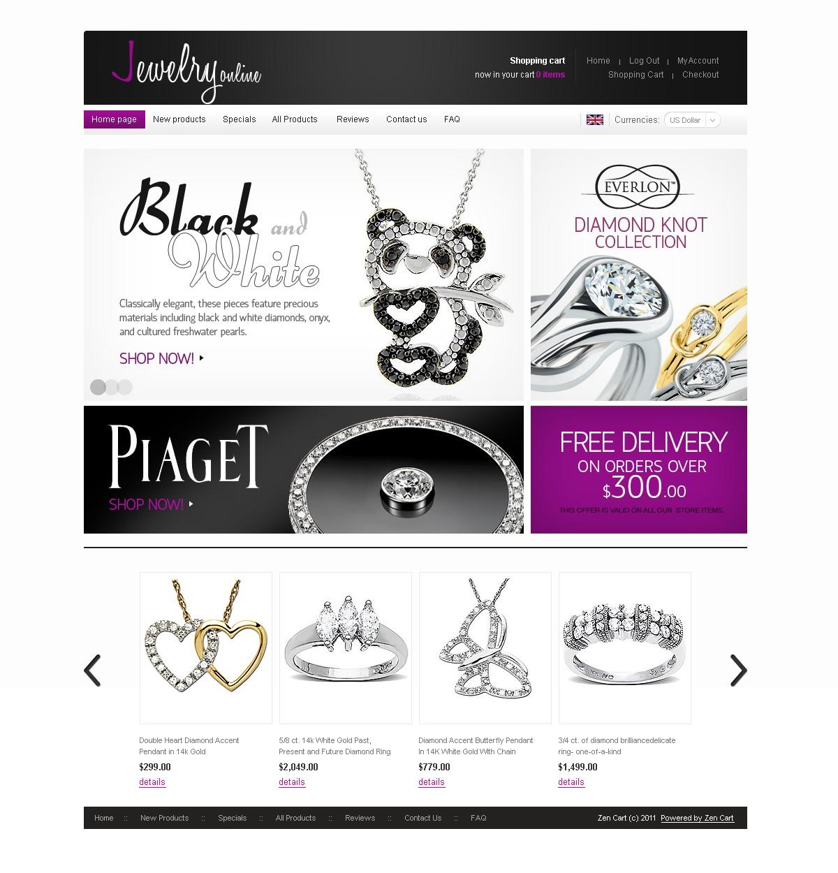 Szablon ZenCart #33228 na temat: biżuteria - zrzut ekranu