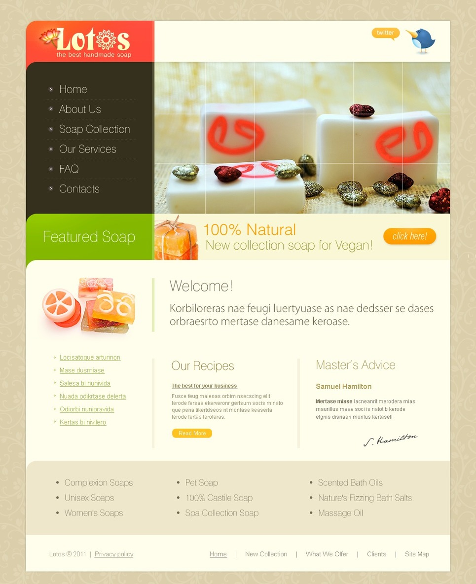 Modello siti web per un sito di accessori spa for Siti web di costruzione domestica