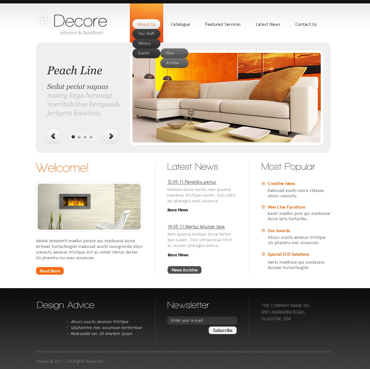 Interior design website template 33492 for Interior design sites
