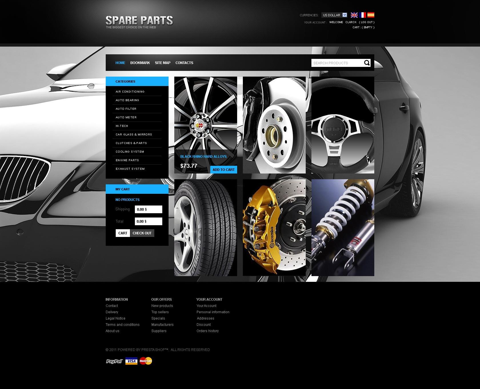Tema de PrestaShop #33581 para Sitio de Repuestos de coches