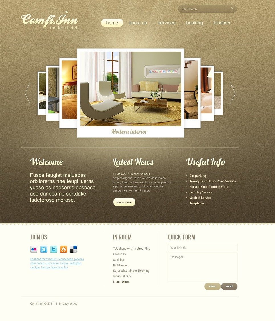 Template siti web per un sito di hotel for Siti web di home plan