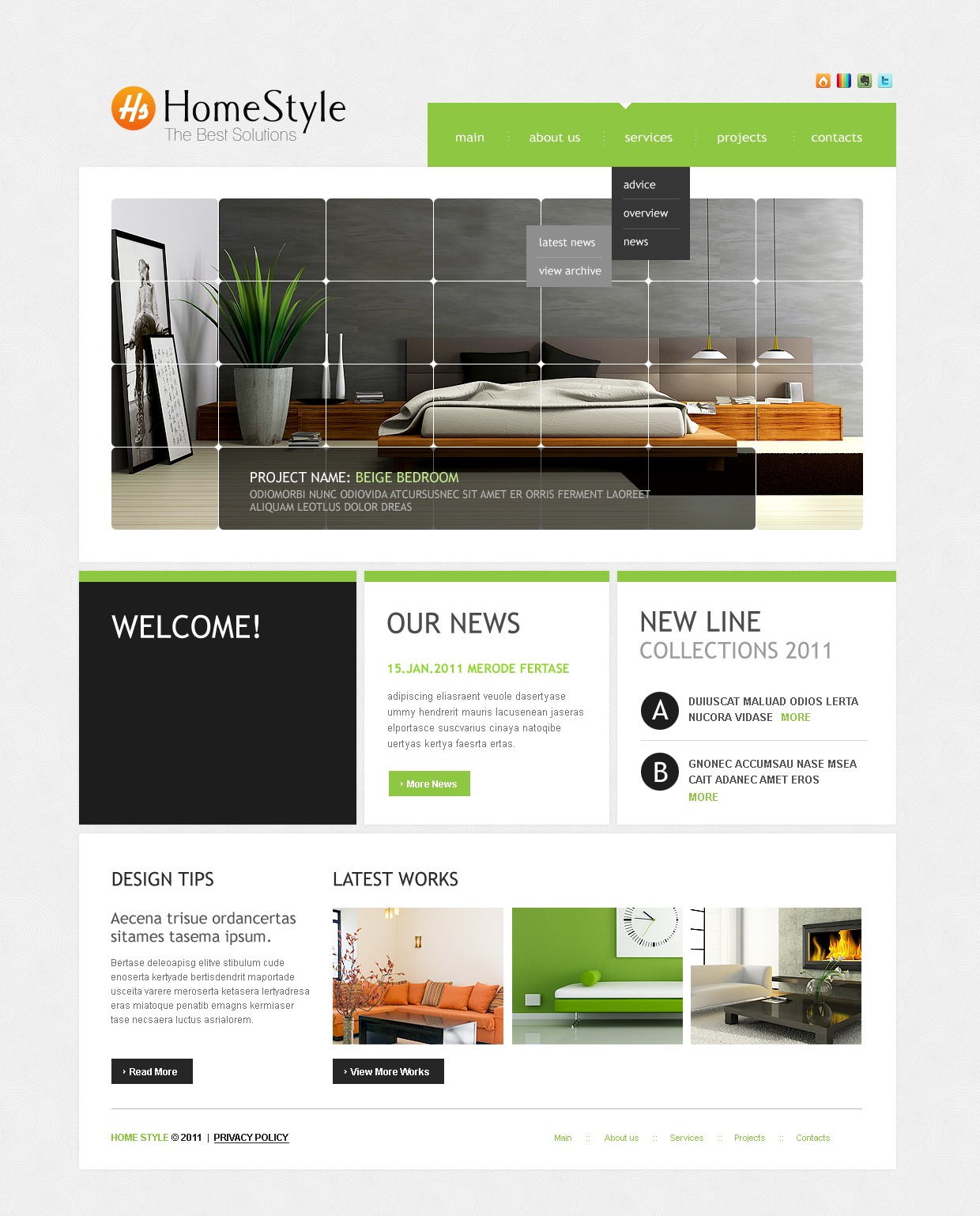 Interior design website template 34004 for Interior design sites
