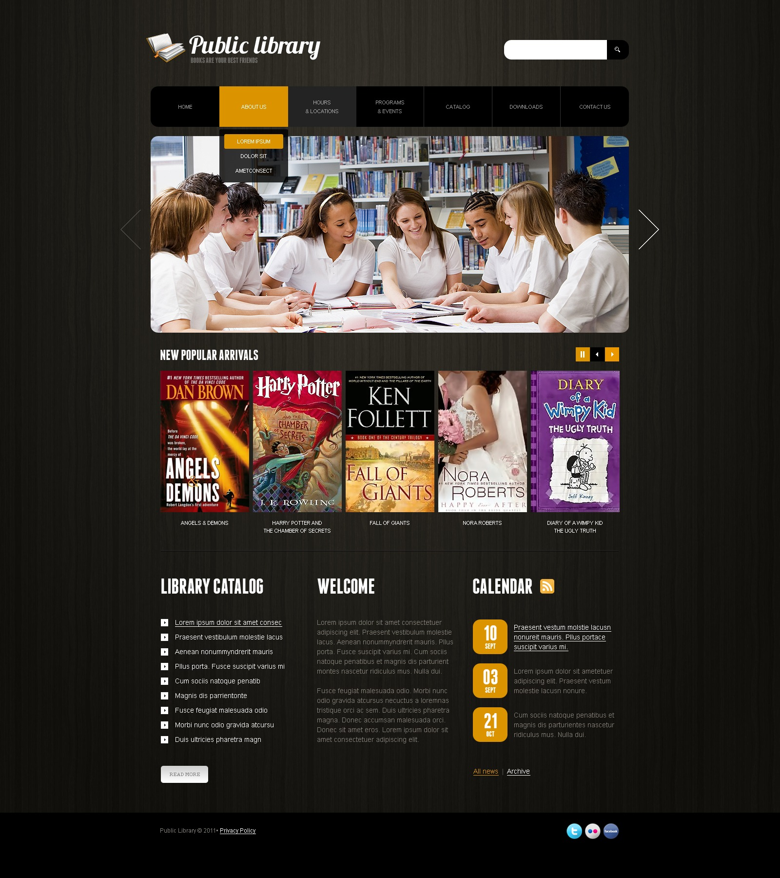 Library Website Template #34067