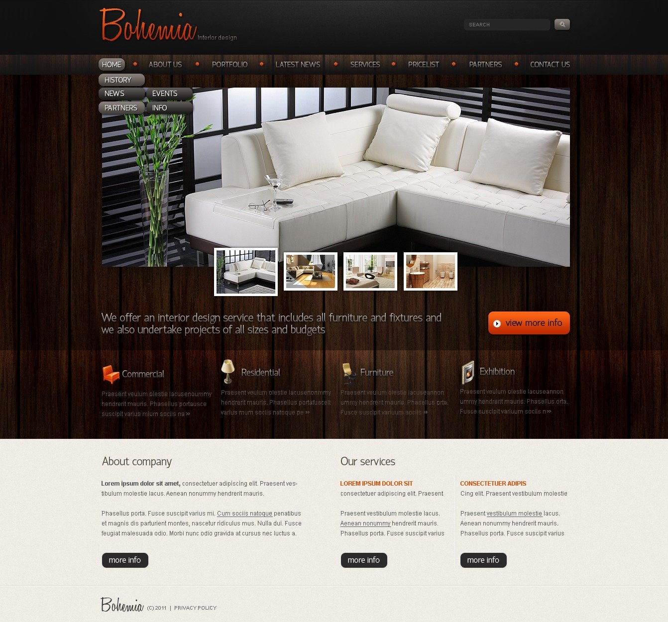 Interior design website template 34495 for Interior design sites