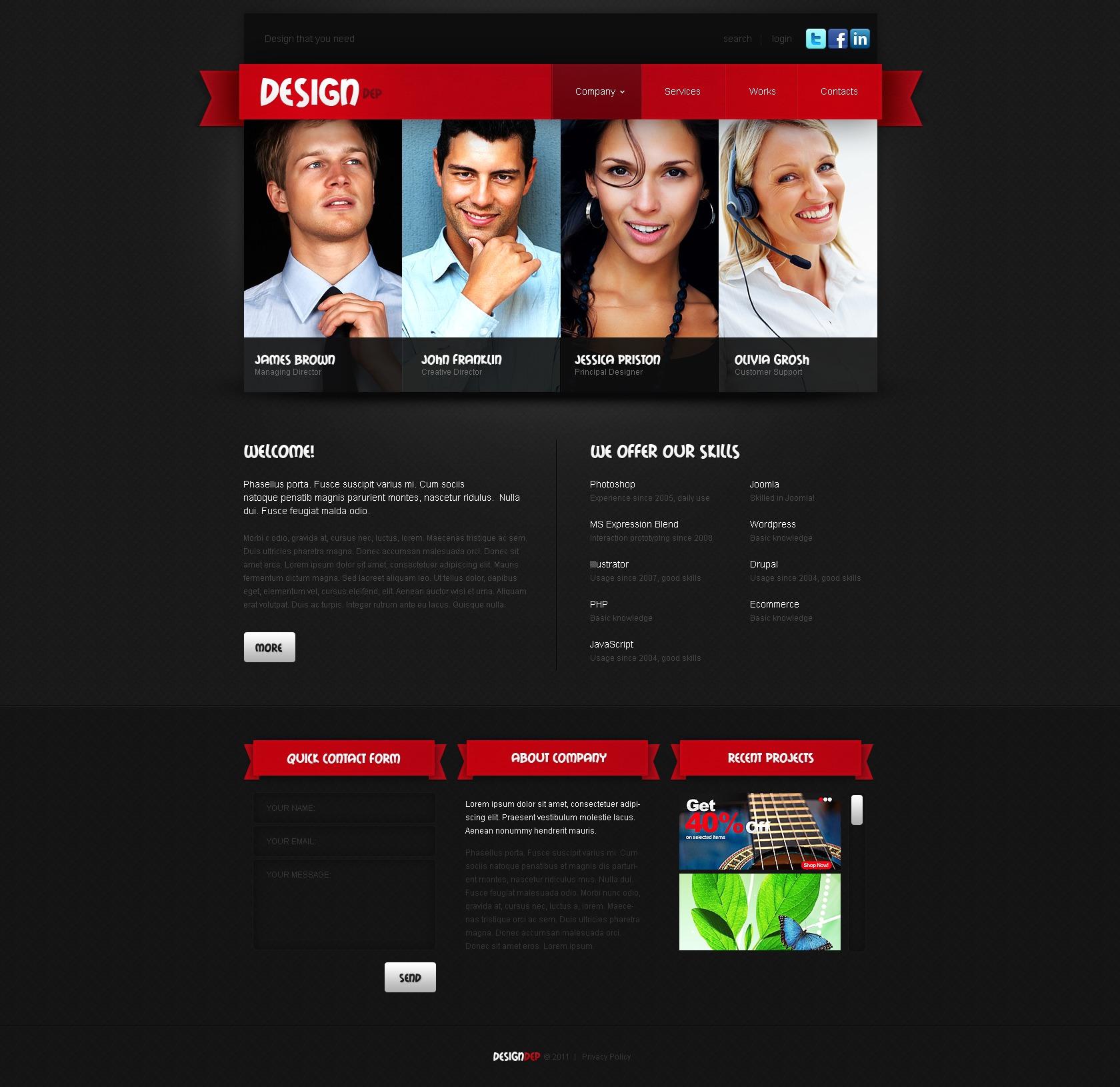 Tema WordPress para Sites de Estúdio de Design №34441 - captura de tela