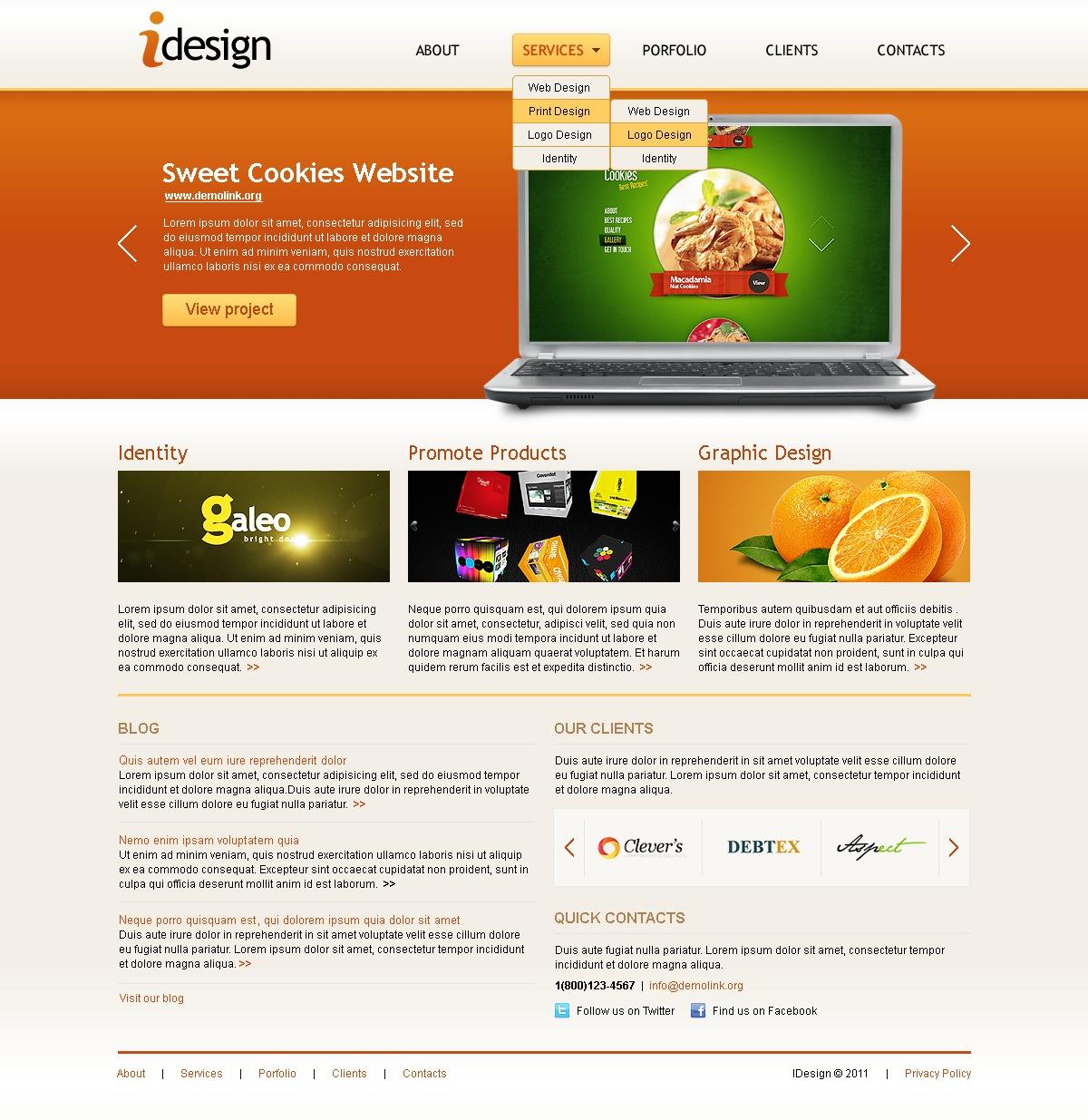 Tema joomla 34570 per un sito di web design for Design sito