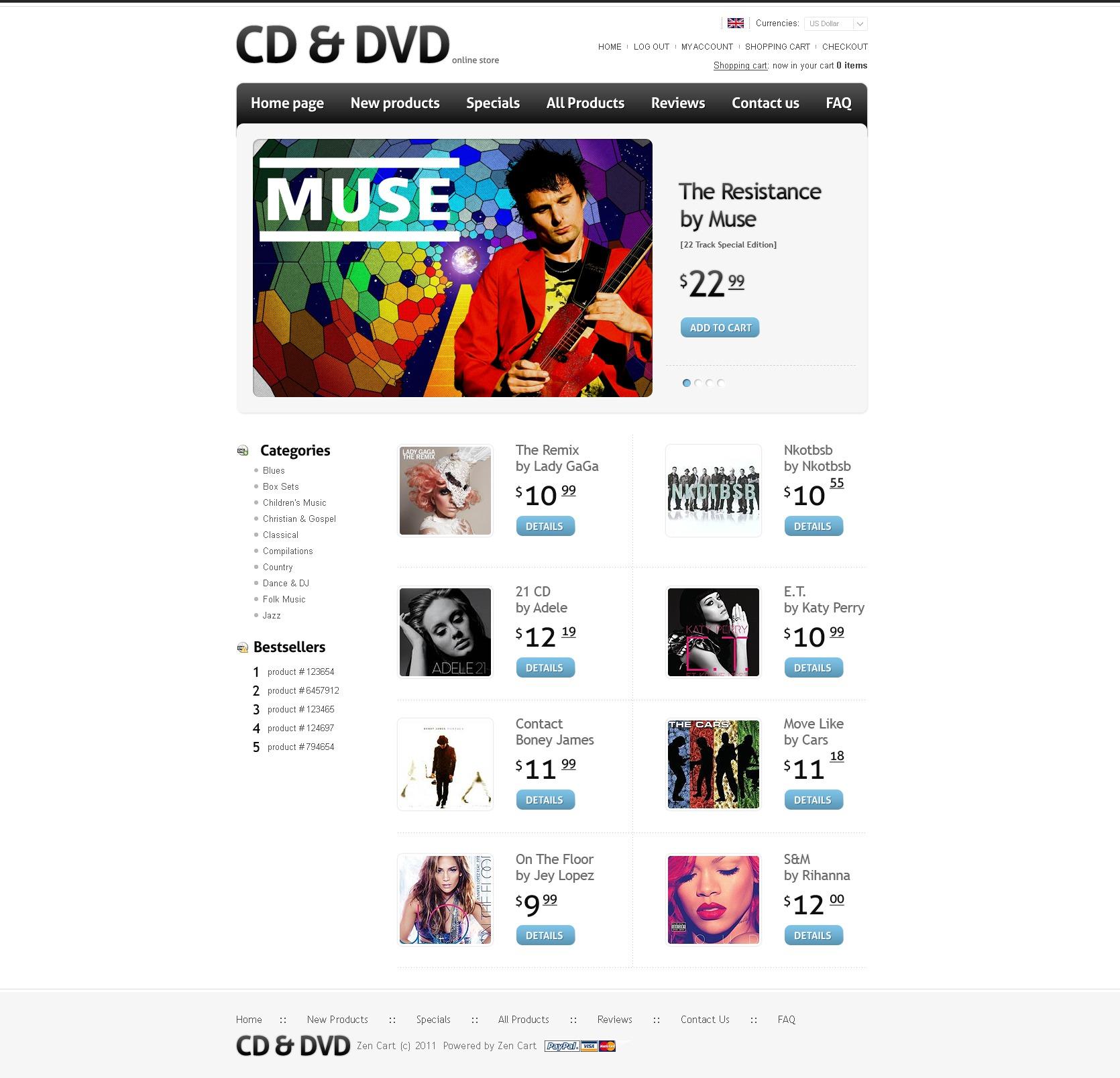 ZenCart шаблон на тему музичний магазин №34562 - скріншот