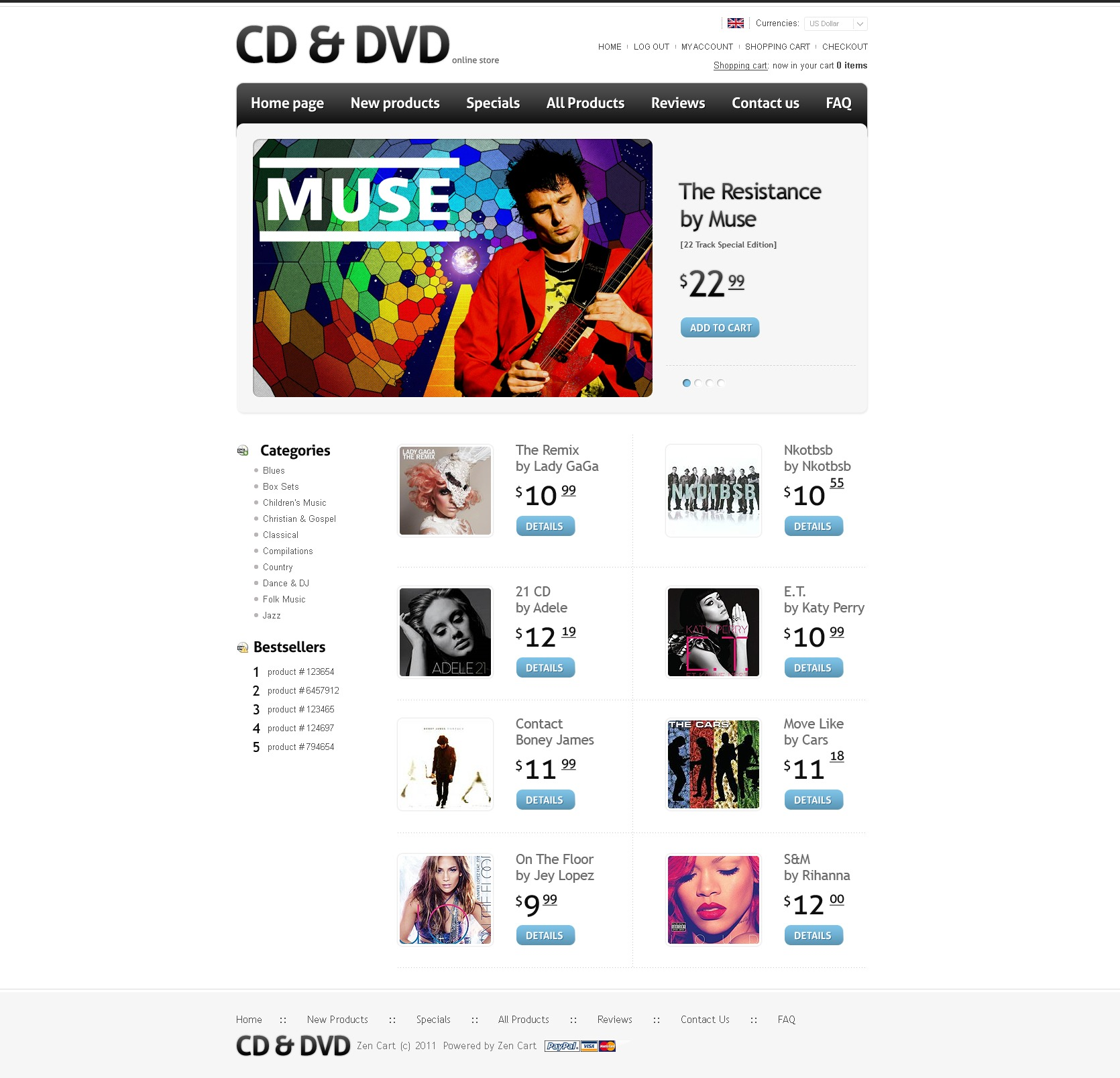 ZenCart šablona Music Store Templates #34562 - screenshot