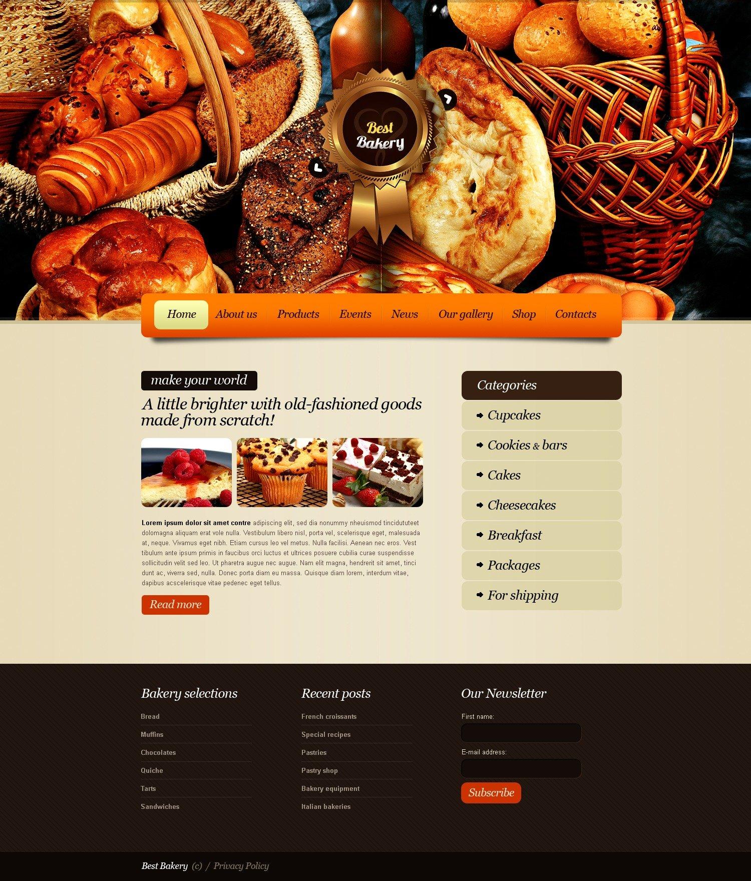 Bakery Website Template - screenshot