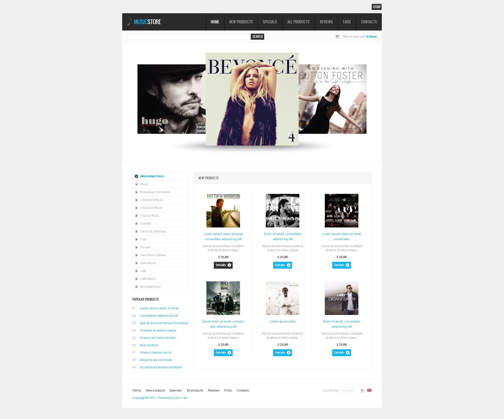 ZenCart шаблон на тему музичний магазин №34673 - скріншот