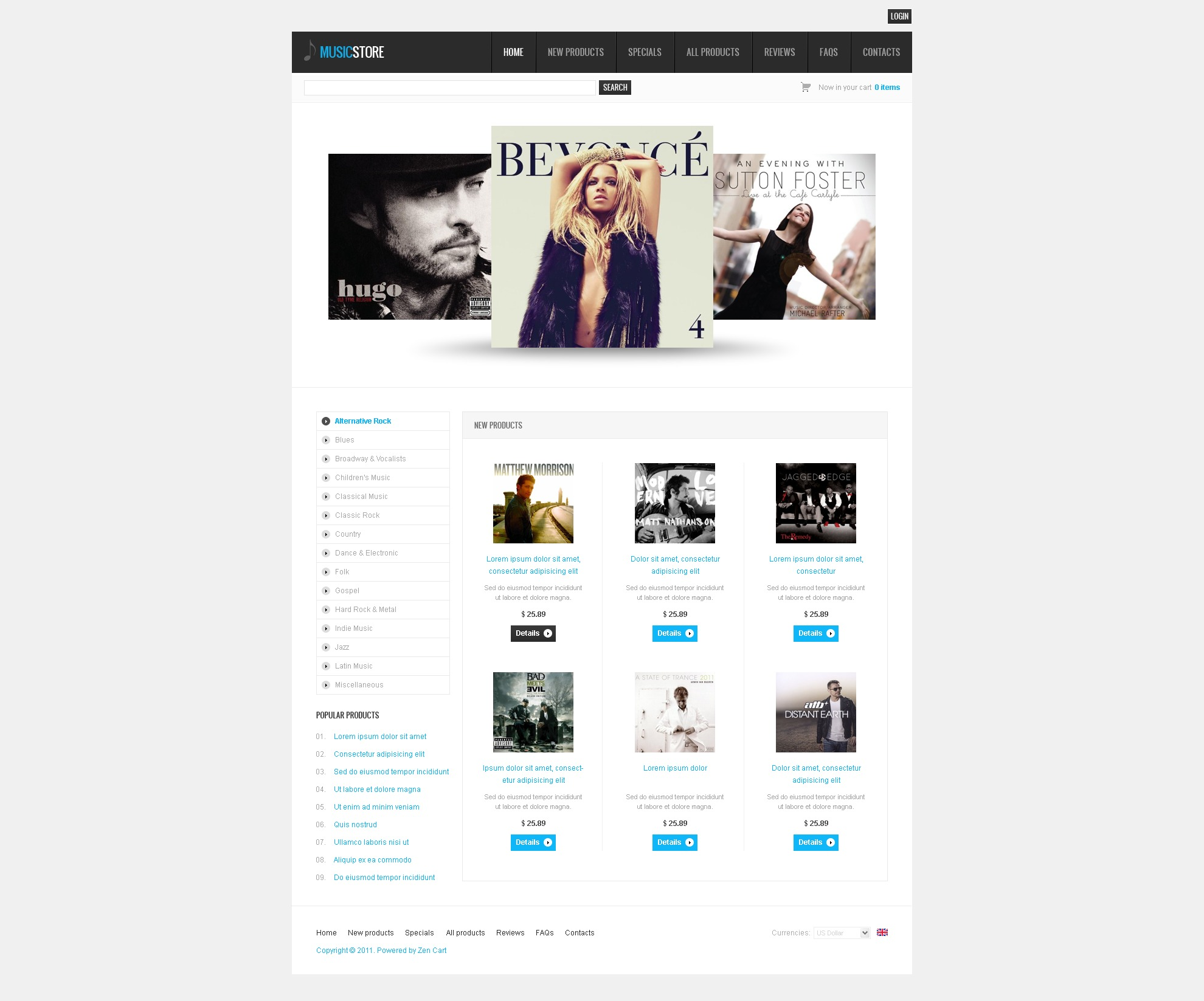 ZenCart template over Muziek winkel №34673 - screenshot