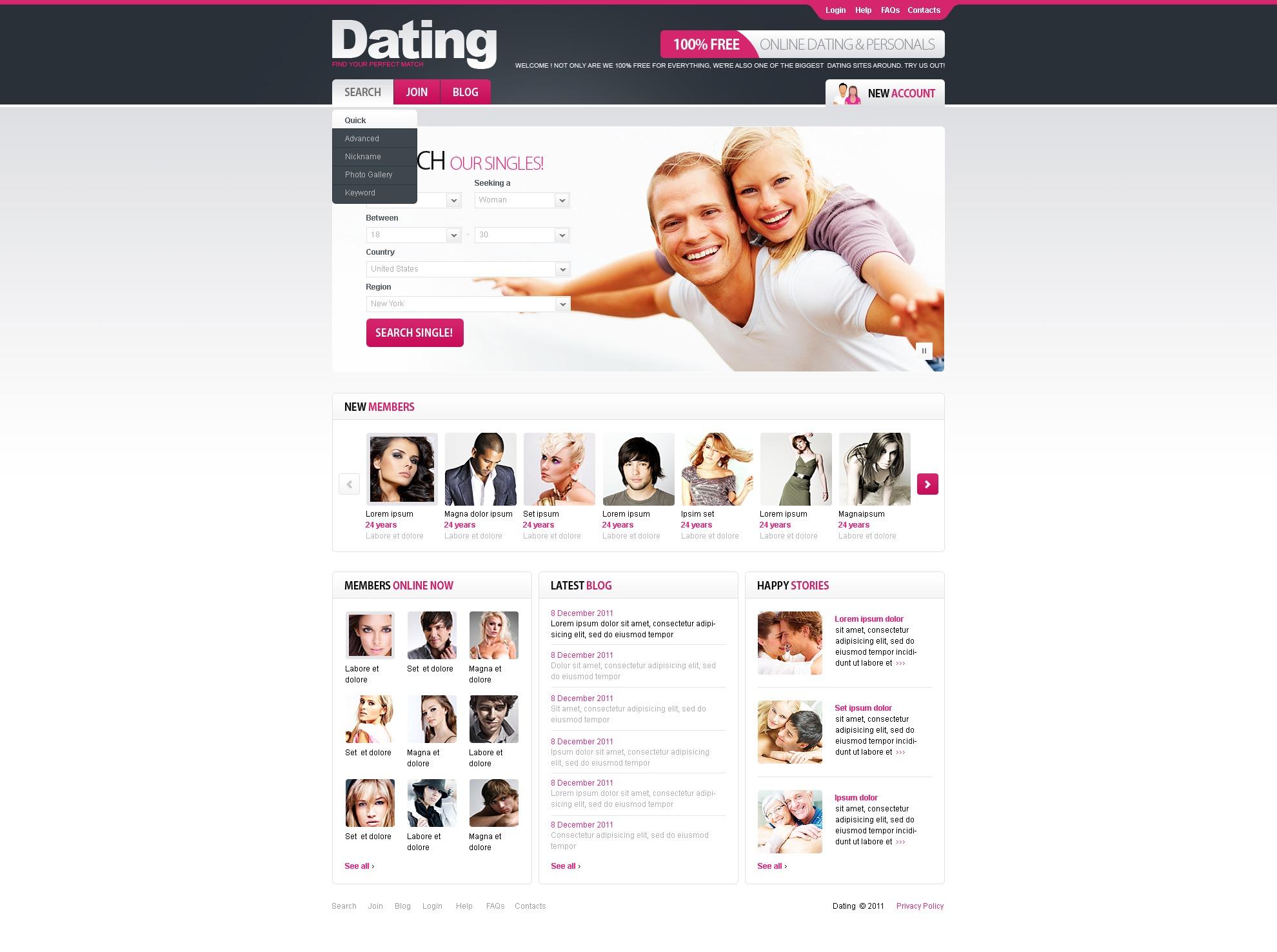 dating website template 34767. Black Bedroom Furniture Sets. Home Design Ideas