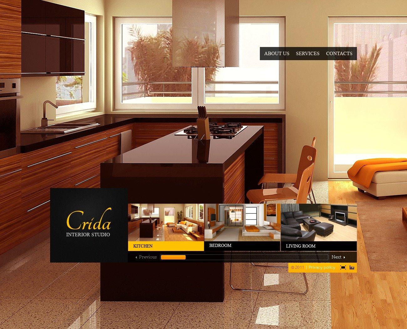 Modello flash per un sito di design di interni for Siti design interni