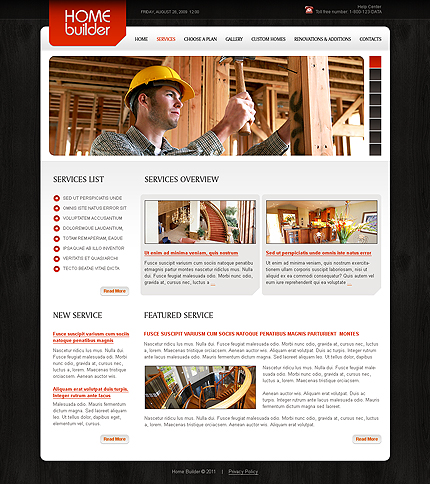 Template 34879 ( Services Page ) ADOBE Photoshop Screenshot