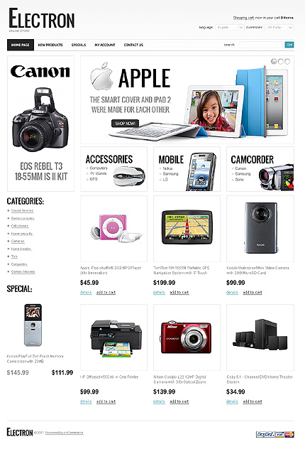 osCommerce Template 34893 Main Page Screenshot