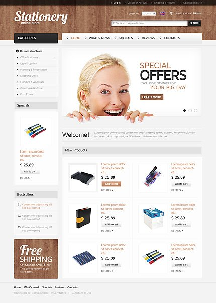 osCommerce Template 34895 Main Page Screenshot