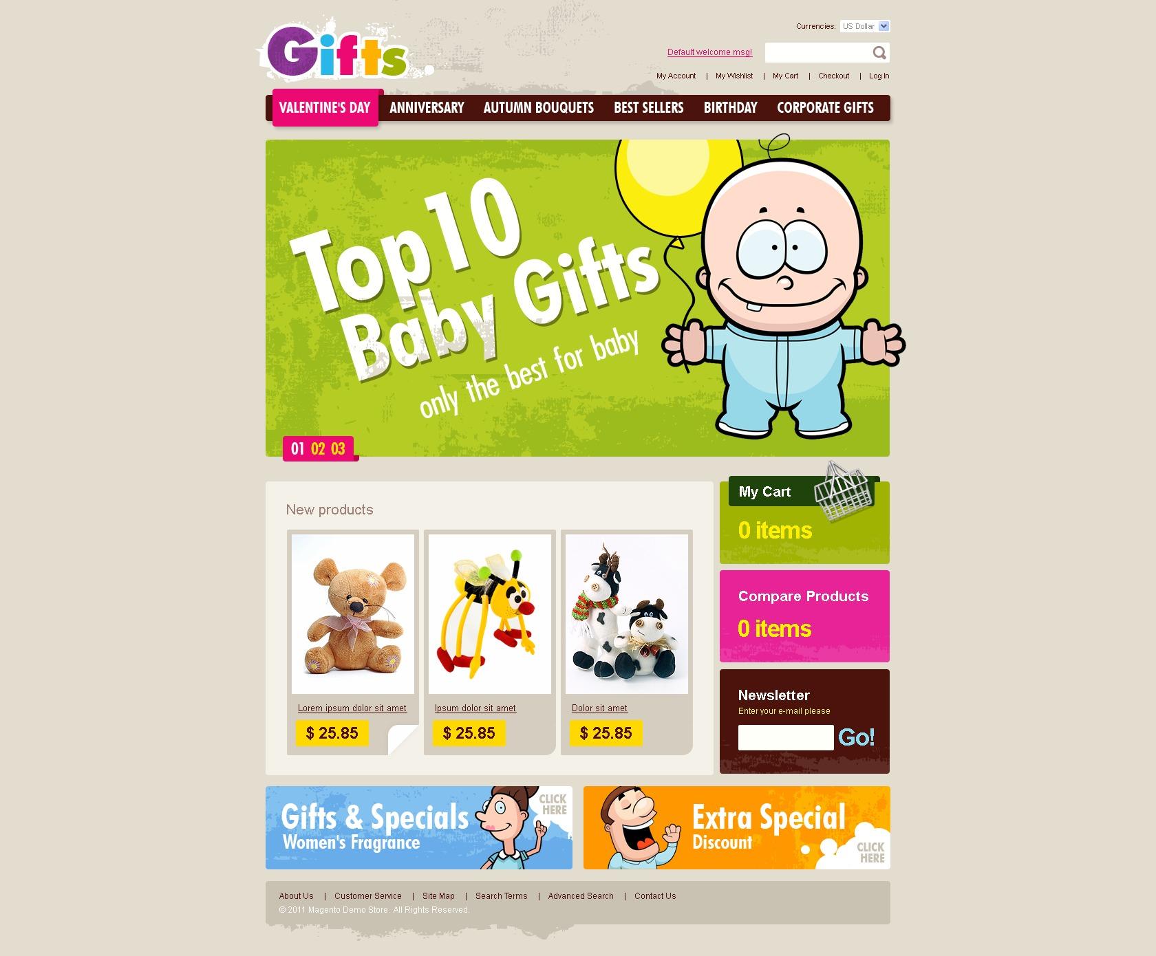 tema magento 34848 per un sito di negozio di regali