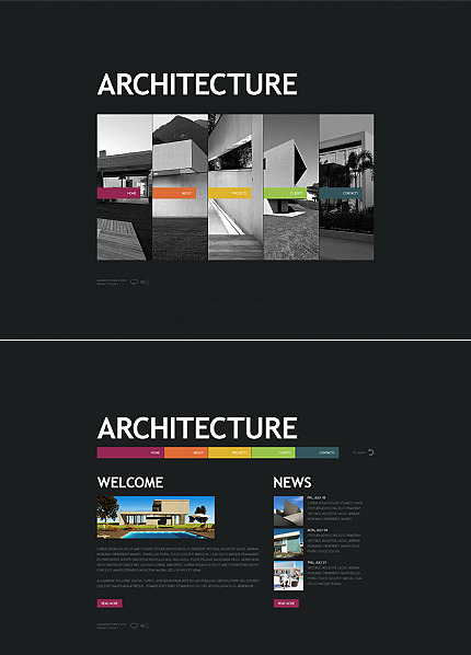 Flash CMS Template over Architectuur MotoCMS