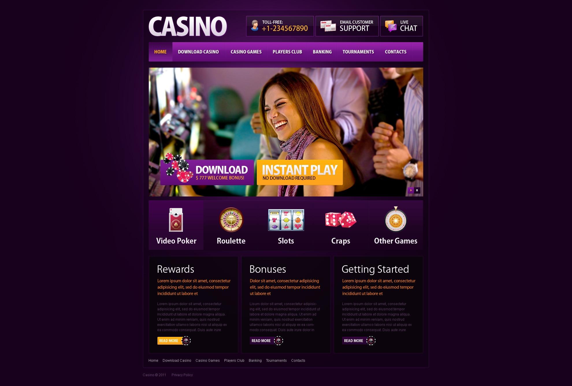 Шаблон сайту на тему онлайн казино №35010 - скріншот