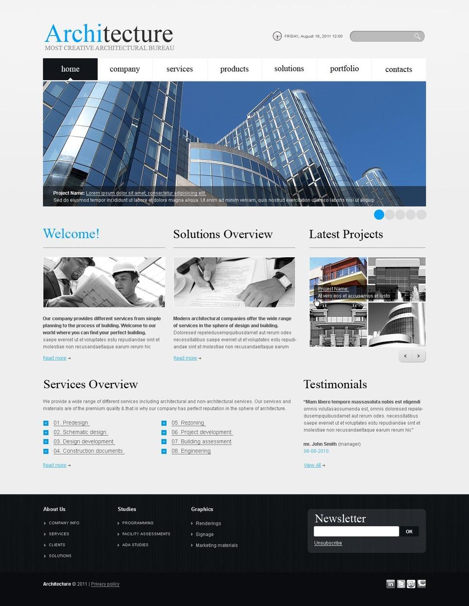 Modello siti web per un sito di architettura for Siti web di home plan