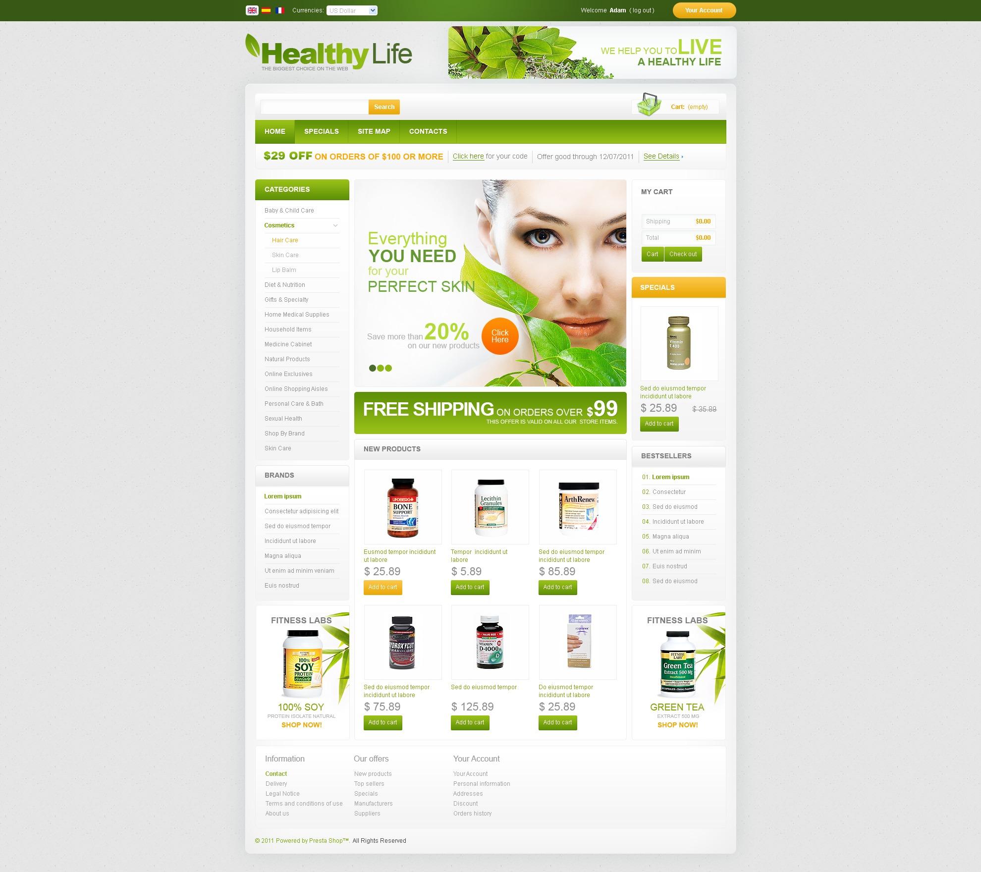 """Pharmacy"" PrestaShop模板 #35168 - 截图"